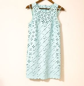 J. Crew Laser Cut AQUA Shift Dress